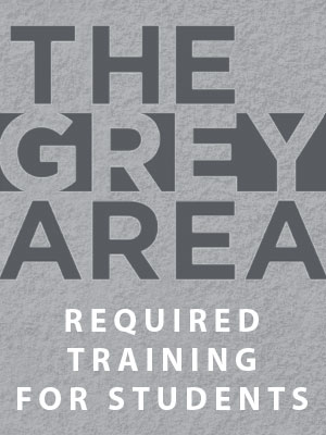 The Grey Area logo for student training